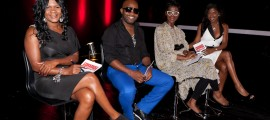 Guest Judge Lady Saw with judges Carlton Brown Novia McDonald Whyte and Keneea Linton George