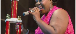 Chrystal Cummins-Beckles of Barbados performs after winning the 2nd Euphony Vibes Regional Female Calypso Competition on Friday, December 22, 2012 at Festival City, Montserrat. (A Wayne Fenton Photo)