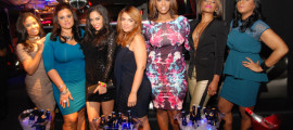 """The Gossip Game"" cast at XL Nightclub: Angela Yee, Vivian Billings, Sharon Carpenter, Kim Osorio, JasFly, K. Foxx and Ms. Drama"