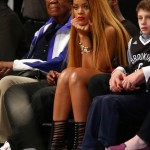 Rihanna Attends Brooklyn Nets Game