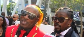Elephant Man and Beenie Man speak with Red Carpet Shelley at the 2013 BET Awards in Los Angeles, CA