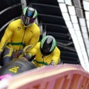 Jamaican bobsleigh team of Winston Watts and Marvin Dixon at the heats in Sochi on Feb. 16, 2014