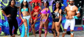 Mas band members show off their costumes for Atlanta Caribbean Carnival 2014.