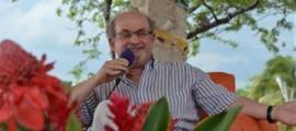 Acclaimed novelist Salman Rushdie is shown on a stage discussing his life and work for an appreciate audience of book-loving Jamaicans and tourists in Treasure Beach, Jamaica, Saturday, May 31, 2014