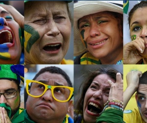 faces of Brazilian fans, stunned and saddened by the July 8th Germany beat down. (Reuters/Getty