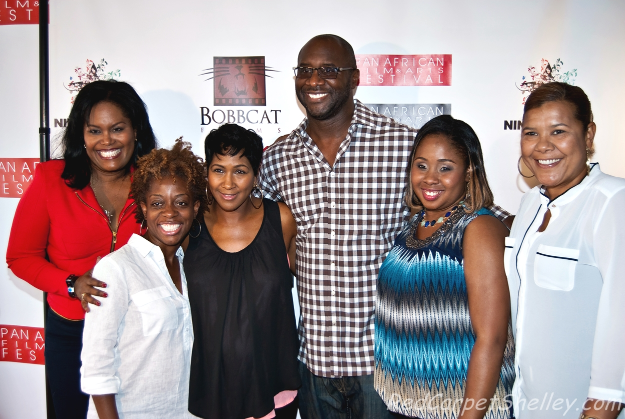 "(LtoR) Five black females produced the TV One original film, ""Girlfriends Getaway"": Lisa Wickham, the Trinidad producer; Cas Sigers, who also wrote the screenplay;  Terri J. Vaughn, who also starred in the film; Roger Bobb, executive producer and director; Sherrese Moise; and Angie Bones from Bobbcat Films."