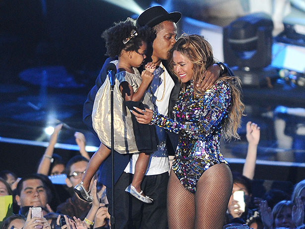 Jay-Z, Beyonce and Blue Ivy Carter onstage at the 2014 MTV Video Music Awards at The Forum on August 24, 2014 in Inglewood, California.  (Photo by Jason LaVeris/FilmMagic)