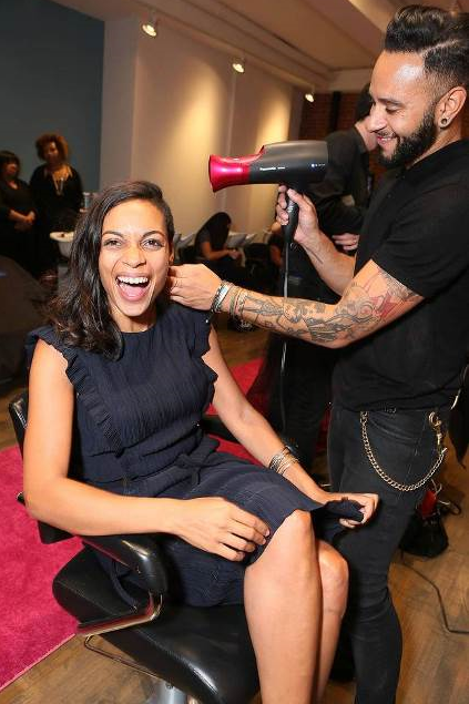Film Maven- Rosario Dawson got  beautified by Panasonic celebrity stylist Cesar Ramirez at the Panasonic Beauty Bar at Salon SCK in NYC.
