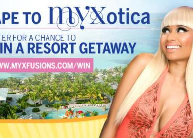 "Play the MYX(R) Fusions Escape to MYXotica Sweepstakes and ""Spin the Bottle"" with Nicki Minaj to win a trip for 2 to Riviera Maya or Punta Cana! Enter at www.myxfusions.com/win (PRNewsFoto/MYX Fusions)"