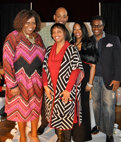 From left, Sonya Lockett, BET VP, Professor Steven Cutting, Muriel Good-Trufant, Luticha Brown, FIT faculty staff, and Internet host of CSW, Selwyn Collins.  Photo:  Tangerine Clarke