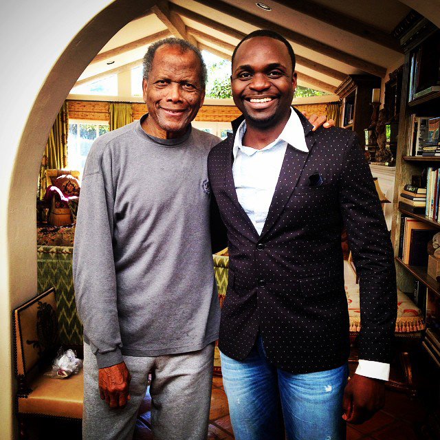 Sir Sidney Poitier with filmmaker and host of THE CINEMAS, Travolta Cooper