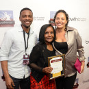 Best of Festival winners Theo Perkins (l) and Laila Petrone (r) with BWFN founder Sheryl Gripper (center)