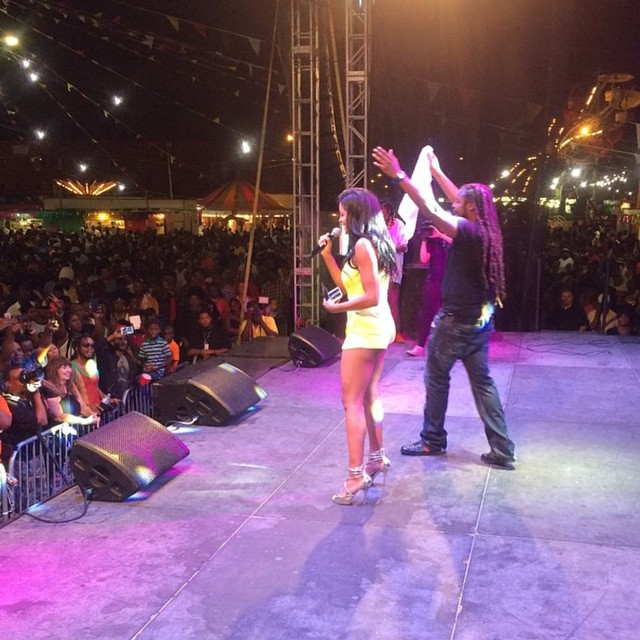 Claudia Jordan on stage with Pressure at St Thomas Carnival 2015