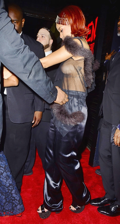 Rihanna Serving a Side of Boobage at her Met Gala after-party