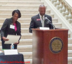 Caribbean Chamber of Commerce President, Jackie Watson receives Governor Deal's Proclamation for Caribbean American Heritage