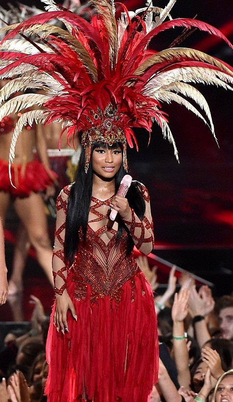 Nicki Minaj wearing Trinidad Carnival-inspired performance costume for the 2015 VMAs