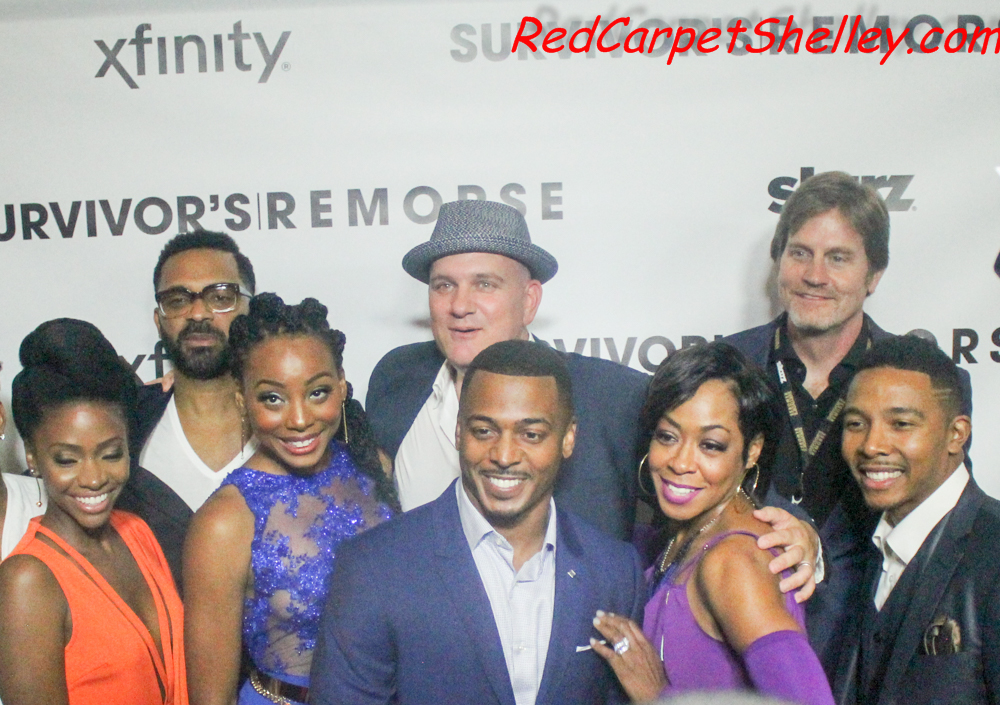 "Teyonah Parris, Mike Epps, Erica Ash, Mike O'Malley, RonReaco Lee, Tichina Arnold, Hilton Smith, and Allen Maldonado attend the ""Survivor's Remorse"" season 2 premiere at Regal Cinemas Atlantic Station in Atlanta."
