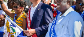 USVI Governor Kenneth Mapp (right) and New York Governor Andrew Cuomo led the Labor Day Parade on Eastern Parkway.