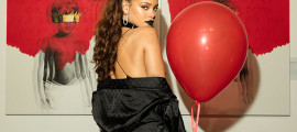 "Rihanna at the artwork reveal for her 8th album ""ANTI"" at MAMA Gallery on Oct. 7, 2015 in Los Angeles, California."
