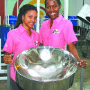 Leading the all-female Platinum Steel Orchestra are Lauren Pierre, left, and Jenna James. PHOTO: SEAN NERO