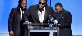 The members of Morgan Heritage accept the GRAMMY for Best Reggae Album at the 58th Annual GRAMMY Awards Premiere Ceremony on Feb. 15 in Los Angeles  Photo: Alberto E. Rodriguez/WireImage.com