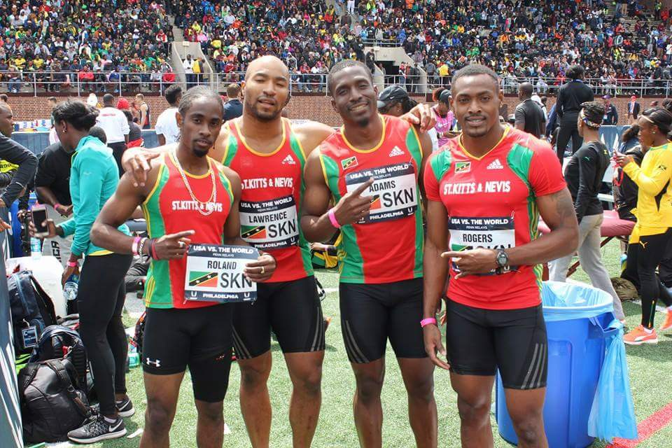 Biggups to Team SKN on their 2nd Place during USA vs. the World Men 4x200 at the #PennRelays L to R: Antoine Adams, Brijesh Lawrance, Lestrod Roland, Jason Rogers