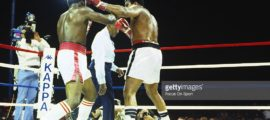 Trevor Berbick, left, exchanges punches with Mohammad Ali, right, during a heavyweight fight December 11, 1981 at the Queen Elizabeth Sports Centre in Nassau, Commonwealth of the Bahamas. Berbick won the fight in a ten round unanimous decision. (Photo by Focus on Sport/Getty Images)