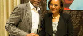 Danny Glover Shakes Hands with Haiti Presidential candidate Dr. Maryse Narcisse- September 11th 2016 - Photo Credit: Maksim Axelrod (PRNewsFoto/Dr. Maryse Narcisse, party of t)