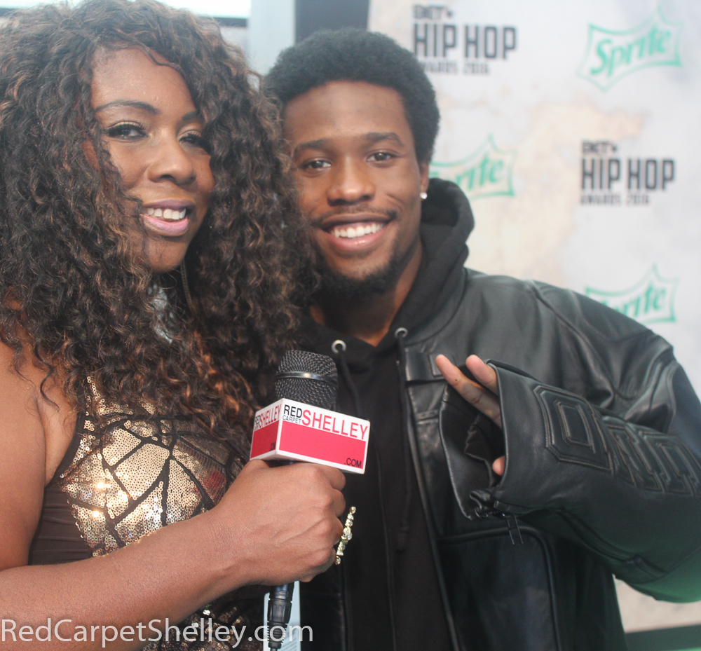 Shameik Moore with Red Carpet Shelley at 2016 BET Hip Hop Awards