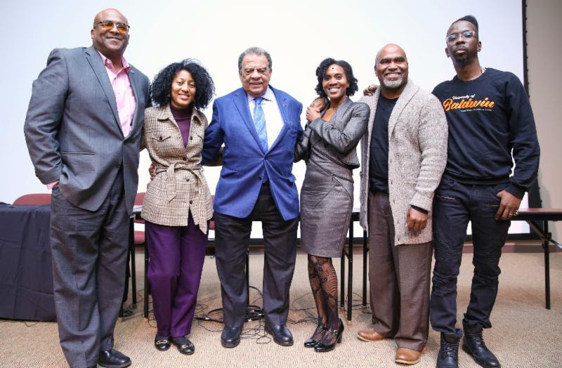 (L to R): Rob Woods (Georgia Equality), Dr. Francine Allen (Morehouse), Ambassador Andrew Young (Civil Rights Icon), Dr. Stephane Dunn (Morehouse), Dr. Daniel Black (Clark Atlanta University) and Fahamu Pecou (Famed Artist & Scholar)