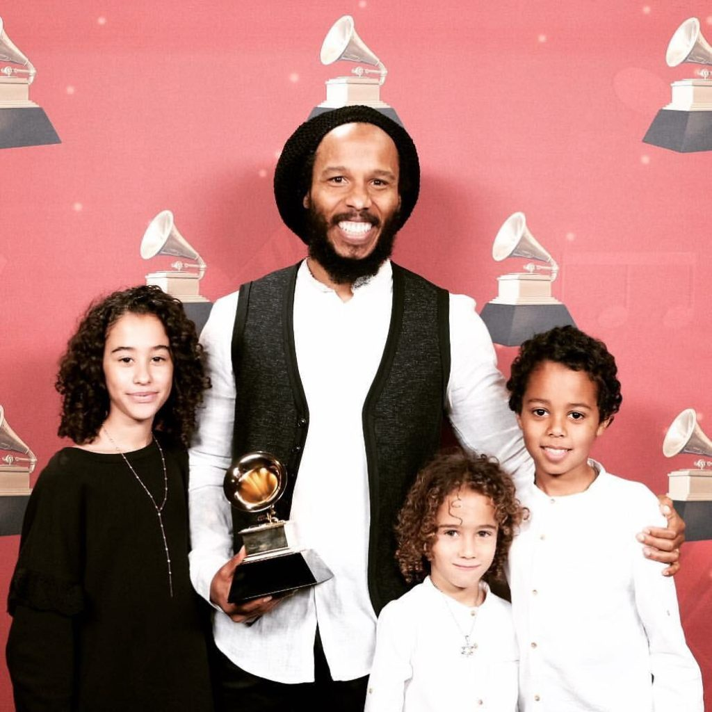 Ziggy Marley and family at the 59th Annual GRAMMYs
