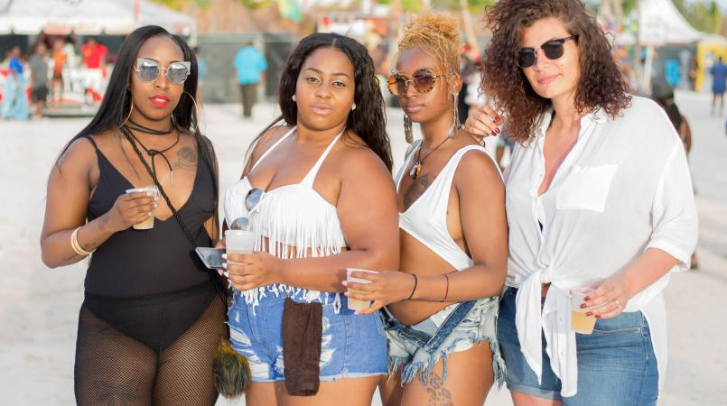 Partygoers at Digicel's Reggae Beach Festival in Barbados