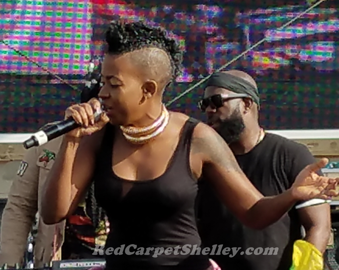Fay-Ann Lyons performs aboard Welcome to Jamrock Cruise with hubby Bunji Garlin. PHOTO: RedCarpetShelley.com