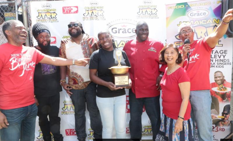 (From left to right: Eddy Edwards, CEO of Jamaican Jerk Festival LLC, Peetah Morgan of Morgan Heritage, Gramps Morgan of Morgan Heritage, Nova Walker, Manager of Yardie's Restaurant, TV Host & Celebrity Chef Wenford Patrick Simpson, Patricia Chin, Founder of VP Records, Richard Lue, Director of Business Development, VP Records)