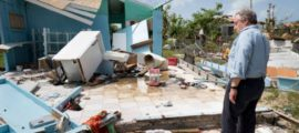 Secretary-General António Guterres walks through Codrington town in Barbuda to see firsthand the devastation left behind by Hurricane Irma. UN Photo/Rick Bajornas