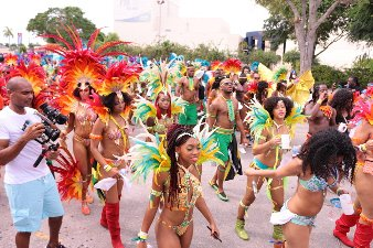 Masqueraders at Jamaica Carnival