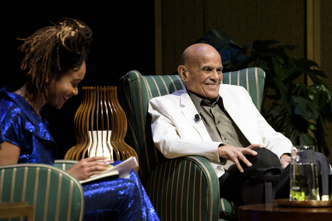Harry Belafonte speaks with Kimberly Drew, part of Red Bull Music Festival in Bronx, NY on May 5, 2018. Drew Gurian / Red Bull Content Pool
