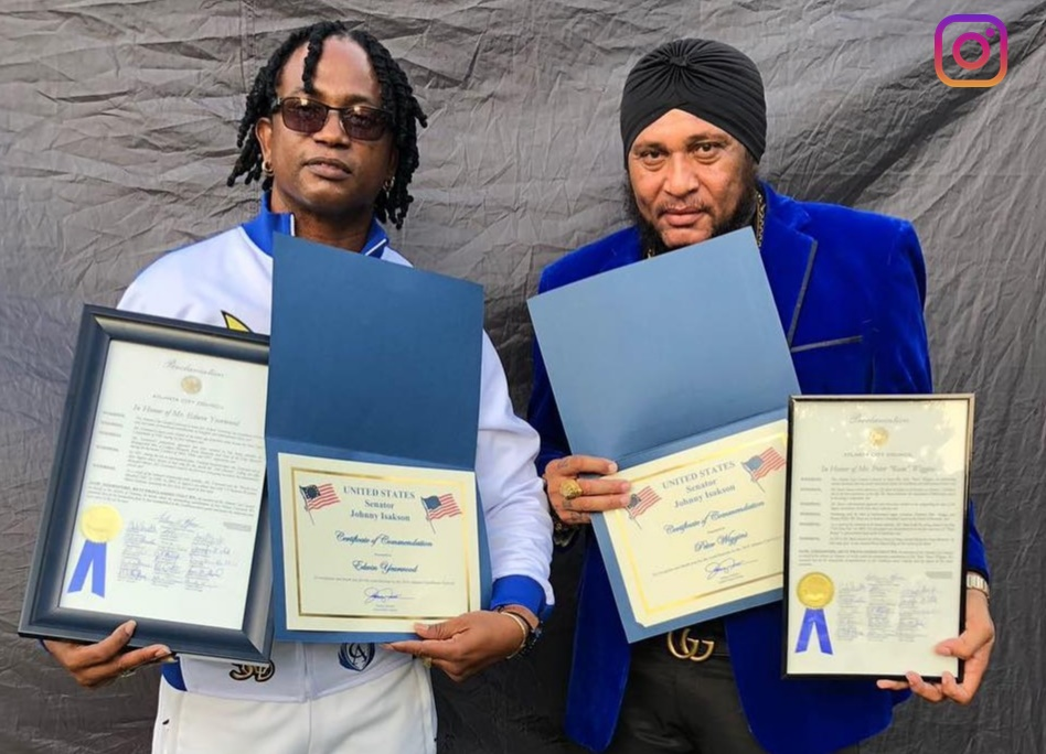 Edwin Yearwood (right) and Peter Ram accept proclamations at Atlanta Carnival 2018   PHOTO: Peter Ram Instagram