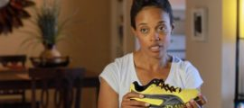 Olympian Jackie Edwards discussing the specially-designed show made for her by Puma during her interview for the documentary 'Perfect Feet The Movie'.