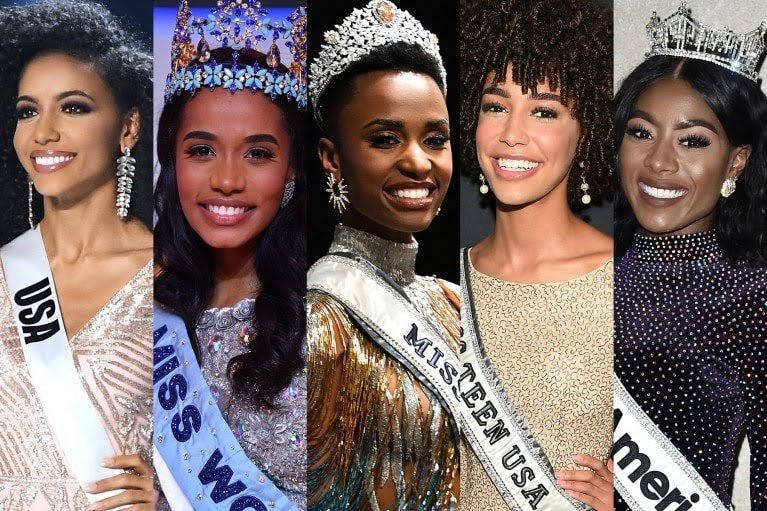 From left, Miss USA Cheslie Kryst; Miss World 2019 Toni-Ann Singh, of Jamaica; Miss Universe 2019 Zozibini Tunzi, of South Africa; Miss Teen USA 2019 Kaliegh Garris; and Miss America Nia Franklin. (Photos by Getty Images)